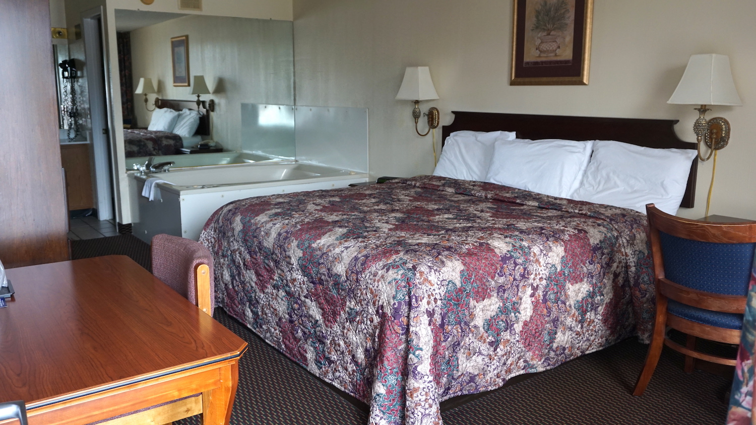 Pigeon Forge Hotel room with king bed and jacuzzi tub at River Place Inn