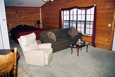 Living area and sleeping area with king bed at Pigeon Forge TN cabin
