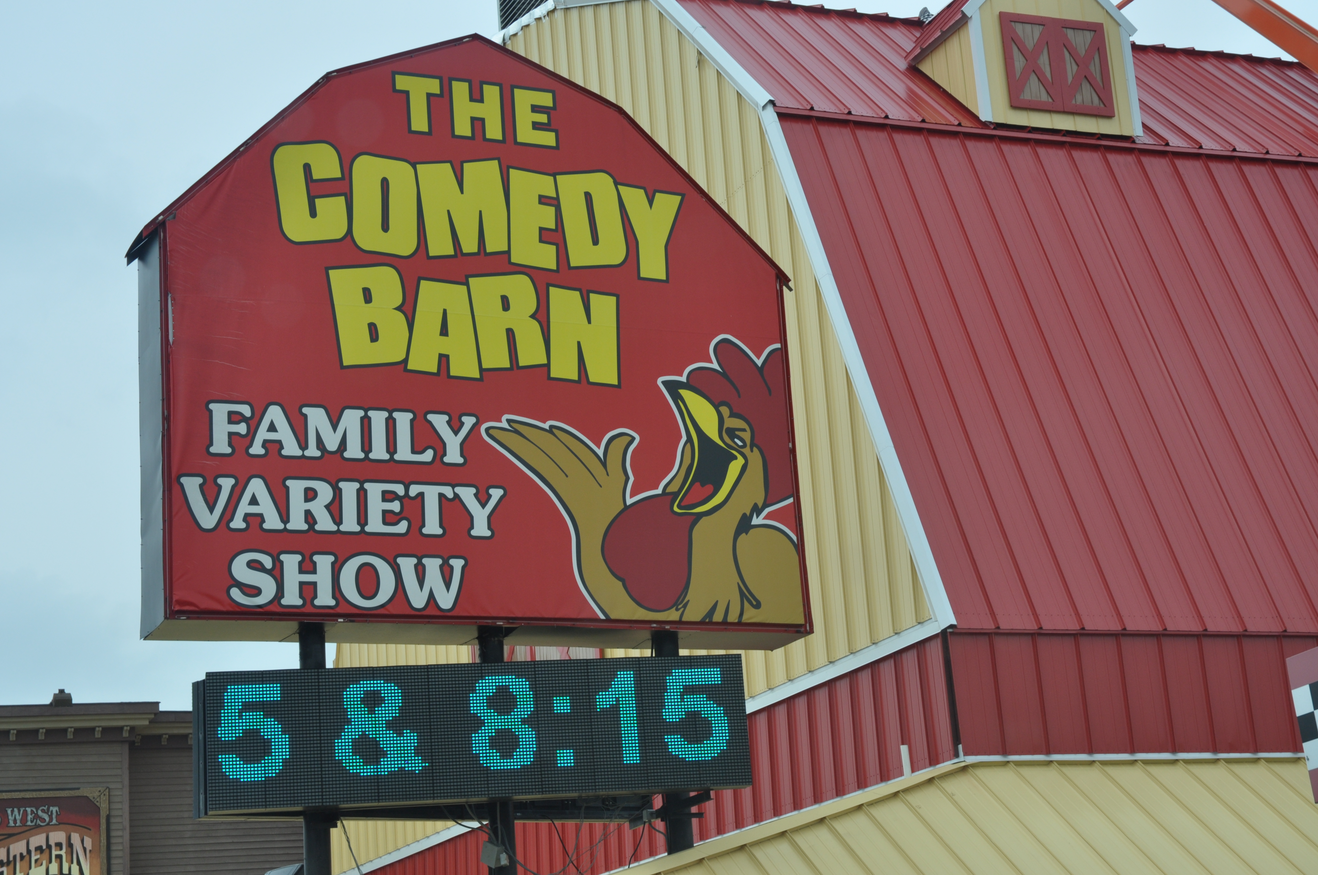 Sign at The Comedy Barn in Pigeon Forge Tennessee